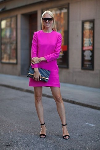 How to wear: black sunglasses, navy leather clutch, black leather heeled sandals, hot pink casual dress