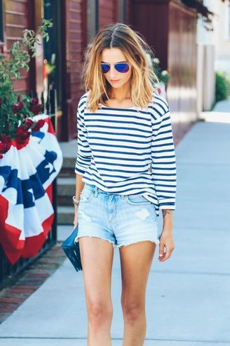 How to wear: blue sunglasses, navy leather clutch, light blue denim shorts, white and blue horizontal striped long sleeve t-shirt