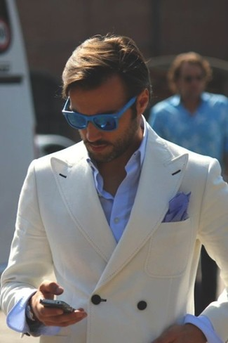 How to wear: navy cotton pocket square, light blue dress shirt, beige double breasted blazer