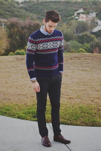 Men's Navy Fair Isle Crew-neck Sweater, Light Blue Long Sleeve Shirt, Black Chinos, Burgundy Leather Oxford Shoes