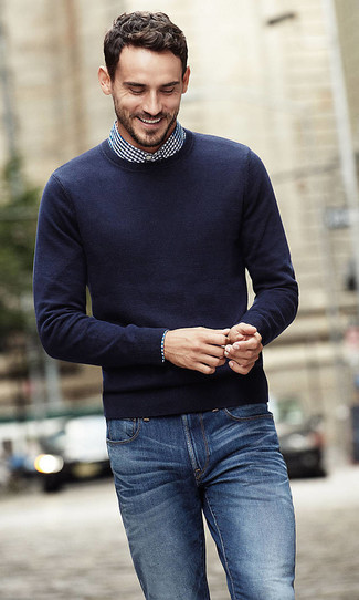 How to wear: navy crew-neck sweater, navy and white gingham dress shirt, blue jeans