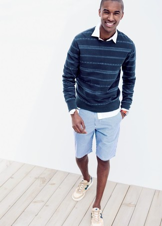 How to wear: navy horizontal striped crew-neck sweater, white long sleeve shirt, blue vertical striped cotton shorts, beige low top sneakers