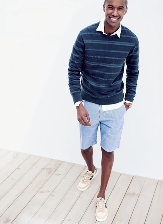 How to wear: navy horizontal striped crew-neck sweater, white long sleeve shirt, light blue vertical striped shorts, beige low top sneakers