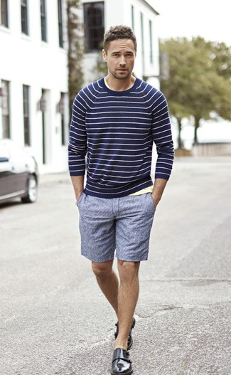 How to wear: navy horizontal striped crew-neck sweater, yellow crew-neck t-shirt, blue shorts, black leather double monks