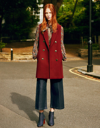 Women's Looks & Outfits: What To Wear In 2020: For a casually edgy look, try teaming a burgundy sleeveless coat with navy denim culottes — these items fit nicely together. For something more on the classy end to finish off your outfit, introduce a pair of navy denim ankle boots to the equation.