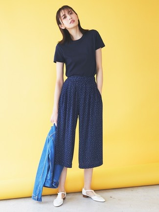 How to wear: white fringe leather loafers, navy print culottes, navy crew-neck t-shirt, blue denim jacket