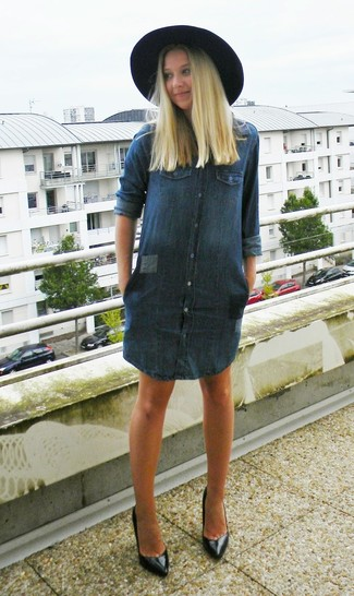 How To Wear A Black Hat With A Navy Casual Dress 3 Looks Outfits