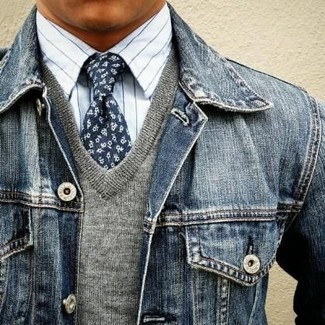 How to wear: navy denim jacket, grey v-neck sweater, white vertical striped dress shirt, navy floral tie