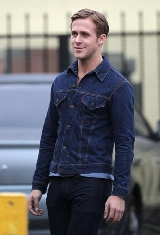 Ryan Gosling wearing Navy Denim Jacket, Light Blue Crew-neck T-shirt, Black Jeans