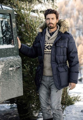 How to wear: grey jeans, navy denim shirt, grey fair isle shawl-neck sweater, black parka