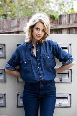 Navy denim shirt navy jeans large 461