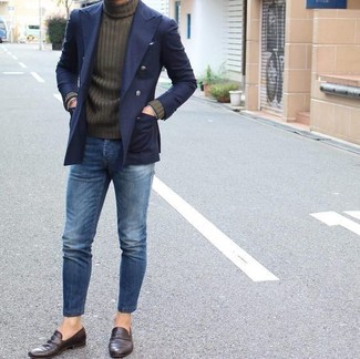 How to wear: navy double breasted blazer, olive turtleneck, blue jeans, dark brown leather loafers