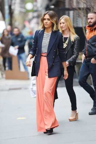 Jessica Alba wearing Navy Double Breasted Blazer, White and Navy Horizontal Striped Long Sleeve T-shirt, Orange Wide Leg Pants, Black Chunky Leather Heeled Sandals