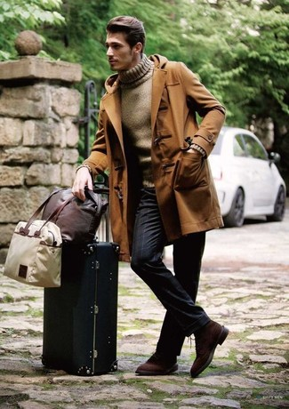 How to wear: dark brown suede derby shoes, navy vertical striped dress pants, brown turtleneck, brown duffle coat