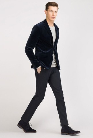 Men's Black Suede Desert Boots, Navy Dress Pants, Grey Crew-neck Sweater, Navy Velvet Blazer