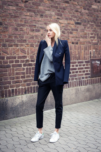 How to wear: white leather low top sneakers, navy dress pants, grey oversized sweater, navy blazer