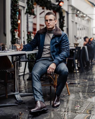 How to wear: burgundy leather chelsea boots, navy plaid dress pants, grey turtleneck, navy wool bomber jacket