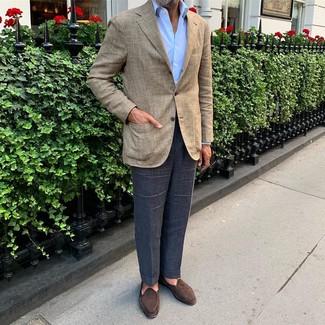 How to wear: dark brown suede loafers, navy dress pants, light blue dress shirt, beige plaid blazer