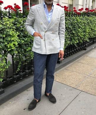How to wear: black suede tassel loafers, navy linen dress pants, light blue dress shirt, grey linen double breasted blazer