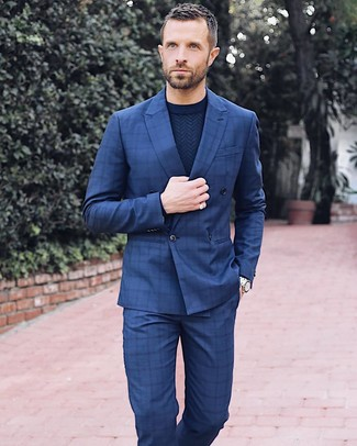 How to wear: silver watch, navy check dress pants, navy crew-neck sweater, navy check double breasted blazer