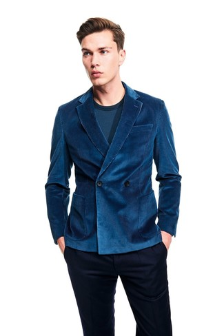 How to wear: navy dress pants, teal long sleeve t-shirt, teal corduroy double breasted blazer