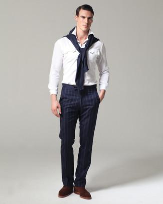 Double Pleat Pinstripe Wool Trousers