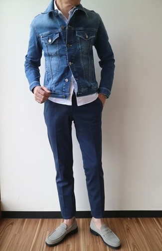 How to wear: grey suede loafers, navy dress pants, white short sleeve shirt, blue denim jacket