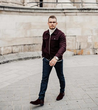 How to Wear a Burgundy Wool Bomber Jacket For Men: A burgundy wool bomber jacket looks especially refined when matched with navy wool dress pants for an outfit worthy of a proper dandy. A pair of burgundy suede chelsea boots can integrate perfectly within plenty of combos.