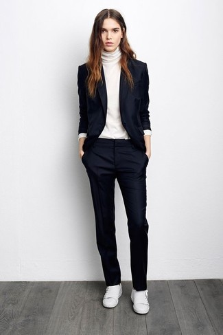 How to wear: white leather low top sneakers, navy dress pants, white turtleneck, navy blazer