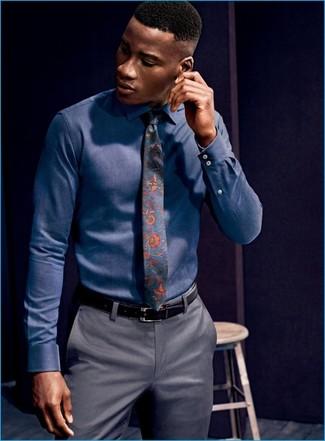 How to wear: navy dress shirt, grey dress pants, navy floral tie, black leather belt