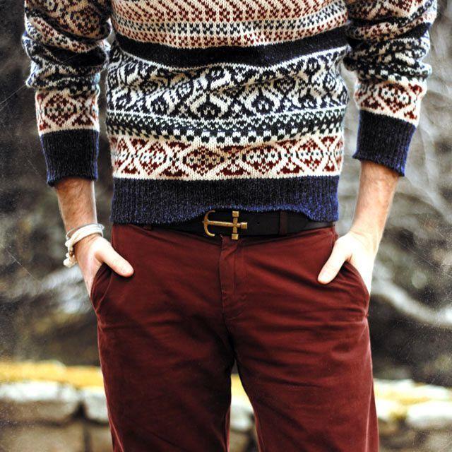 Men's Navy Fair Isle Crew-neck Sweater, Burgundy Chinos, Dark ...