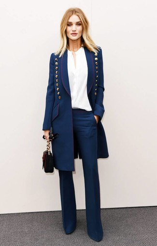 How to wear: black leather crossbody bag, navy flare pants, white button down blouse, navy coat