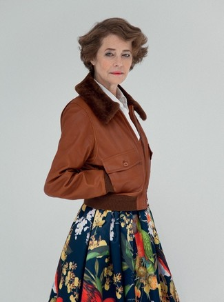 How to wear: navy floral full skirt, white dress shirt, brown leather bomber jacket