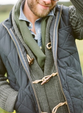 How to wear: navy quilted gilet, olive shawl cardigan, light blue denim shirt, olive scarf