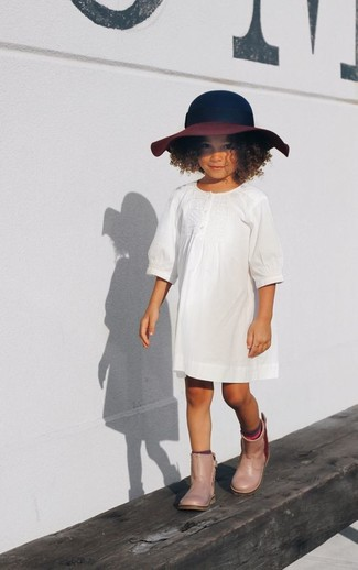 How to wear: navy hat, beige rain boots, white dress