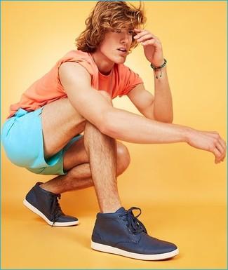 How to wear: navy high top sneakers, aquamarine shorts, orange crew-neck t-shirt