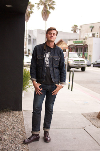 How to wear: burgundy leather casual boots, navy jeans, black and white print crew-neck t-shirt, navy denim jacket