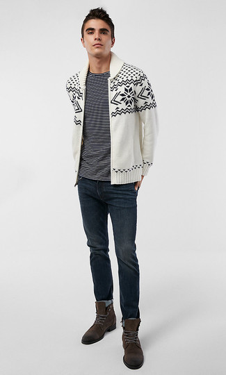 How to wear: dark brown suede casual boots, navy jeans, black and white horizontal striped crew-neck t-shirt, white and black fair isle shawl cardigan