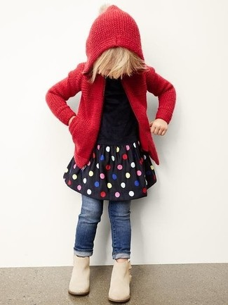 How to wear: beige boots, navy jeans, black polka dot dress, red knit hoodie