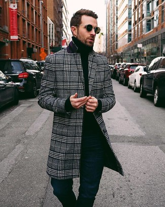 How to wear: navy jeans, black turtleneck, black and white plaid overcoat