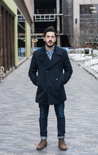 How to wear: brown leather casual boots, navy jeans, blue denim shirt, navy pea coat