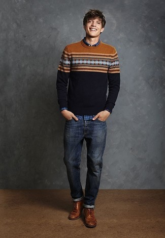 How to wear: brown leather brogue boots, navy jeans, blue plaid long sleeve shirt, navy fair isle crew-neck sweater