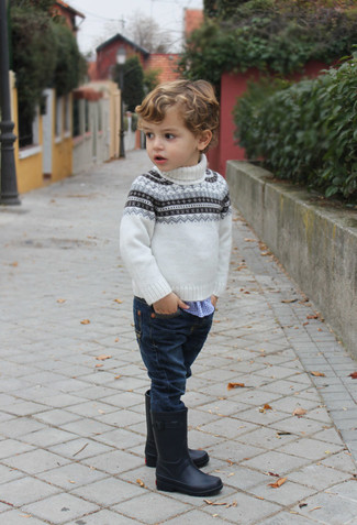 How to wear: black rain boots, navy jeans, blue gingham long sleeve shirt, white fair isle sweater