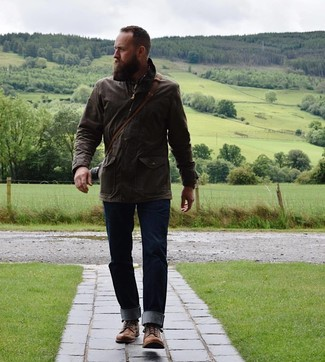 How to wear: brown leather casual boots, navy jeans, brown plaid long sleeve shirt, dark brown field jacket