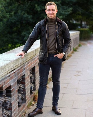 How to wear: dark brown leather double monks, navy jeans, brown turtleneck, black barn jacket