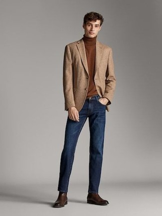 How to wear: dark brown leather chelsea boots, navy jeans, brown turtleneck, tan wool blazer