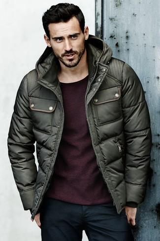 How to wear: navy jeans, burgundy crew-neck sweater, dark green puffer jacket