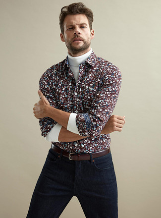 How to wear: burgundy leather belt, navy jeans, burgundy floral long sleeve shirt, white turtleneck