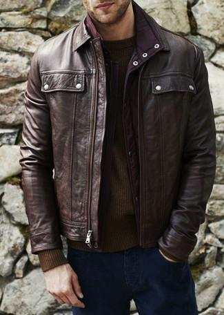 How to wear: navy jeans, dark brown crew-neck sweater, dark brown leather bomber jacket