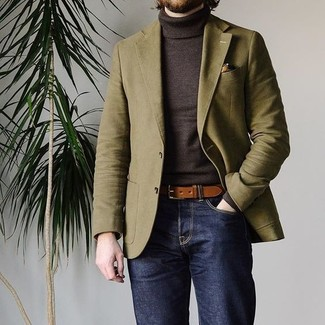 How to wear: brown leather belt, navy jeans, dark brown turtleneck, olive blazer
